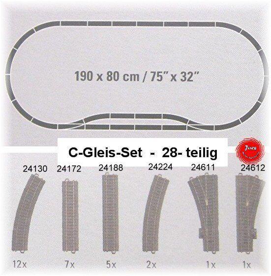 Marklin C-Binari 28 pezzi binario di forma ovale con ausweichgleis  neu da startset