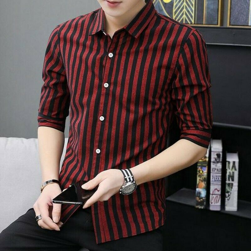 24f8aa37e Mens Boys Tops Button Front Half Sleeve Stripe Slim Fit Business Casual T- shirts