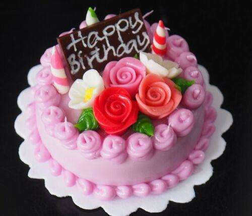 Dollhouse Miniature Blueberry Birthday Cake Rose Top Food Deco Bakery 30 mm