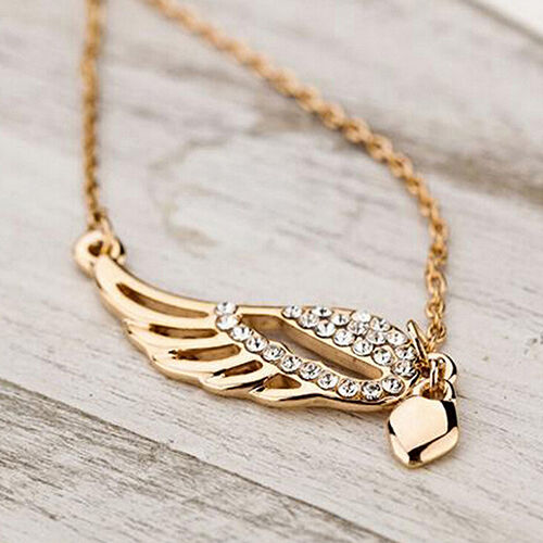 Charm Women's Charm Jewelry Angel Wings Love Heart Pendant Chain Necklace