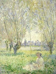 CLAUDE-MONET-FRENCH-WOMAN-SEATED-UNDER-WILLOWS-OLD-ART-PAINTING-POSTER-BB5142A