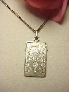 835-Collar-Plata-colgante-de-plata-925-Geminis-Joya-5-Sello-Raro