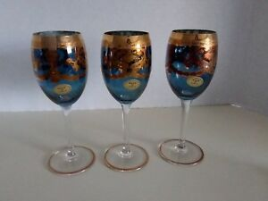 Calici Blue Tinted Wine Goblets W Gold