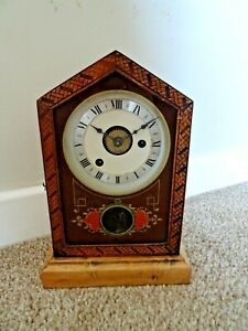 Antique-Victorian-Uhrenfabrik-Teutonia-German-Made-Alarm-Mantel-Clock-with-Bell