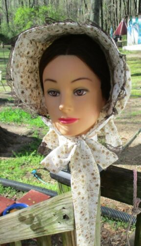 Victorian Style Hats, Bonnets, Caps, Patterns    CIVIL WAR VICTORIAN ACCESSORIES LADYS DEEP BROWN FLORAL COTTON SLAT~SUN BONNET $19.95 AT vintagedancer.com