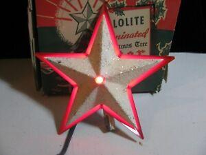 VINTAGE-CHRISTMAS-DECORATION-LIGHTED-METAL-STAR-TREE-TOPPER-GLOWLITE