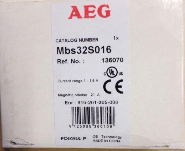 AEG GE Motorschutzschalter Mbs32S016 1-1,6A MBS 32 OVP Leistungsschalter