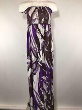 BCBG Purple Maxi Dress M Medium Strapless Floral Full Length Beach