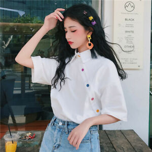 Women-Solid-Top-Shirt-Short-Sleeve-Ladies-Fashion-Summer-Blouse-T-shirt-Loose