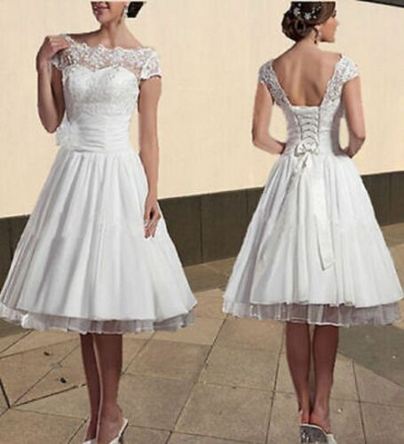 New Style Formal Lace White Ivory Tea Length Bridal Gown wedding dress Size 6-18