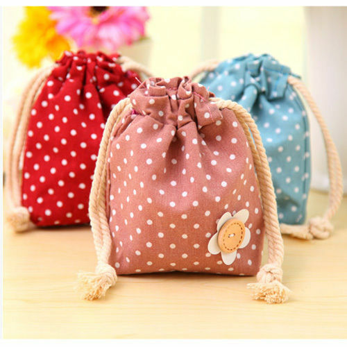 1-200pcs Polka Dots Flower Candy Gift Bags Cotton Drawstring Jewelry Storage Bag