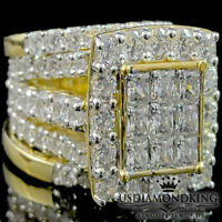 Big Bold Ladies Yellow Gold Finish 925 Sterling Silver 3 Piece Wedding Ring Band