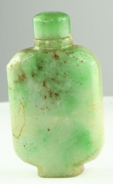 VINTAGE ANTIQUE 1920'S CHINESE GREEN APPLE JADE SNUFF BOTTLE