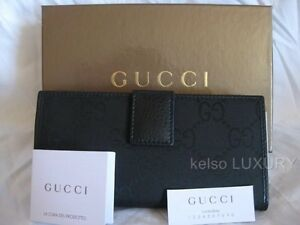 b7f69f16ded1 NEW GUCCI Black GG Satin Leather Checkbook Credit Cards Coin Purse ...