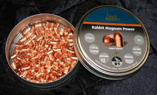 PELLETS 200 ct 16.05 grains COPPER COATED LEAD H/&N RABBIT MAGNUM POWER .177 CAL