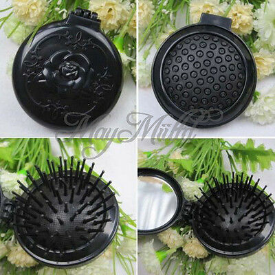 New Trendy1PC VTG Black Roses Folded Airbag Comb With Mirror Portable G