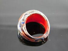 Superb Murano Glass Silver Foiled Lampwork Handmade Multicolor Ring US 6.5""