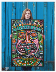 NEO-Street-Art-Aztec-Mayan-Graffiti-Print-Urban-Abstract-Modern-Poster-Wall-Fish