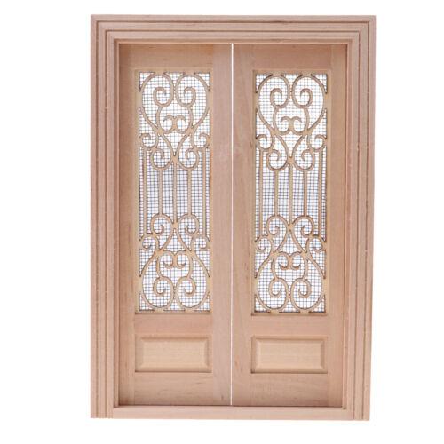 1//12 Dollhouse Miniature Wooden External Hollow Screen Double Door Natural