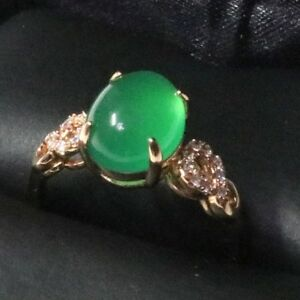 3-5-Ct-Oval-Green-Emerald-Ring-Women-Wedding-Jewelry-Gift-14K-Rose-Gold-Plated