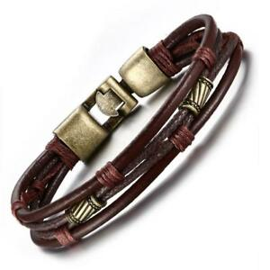 Mens-Vintage-Braided-Leather-Wrist-Band-Brown-Rope-Cuff-Bracelet-Bangle-8-5-inch