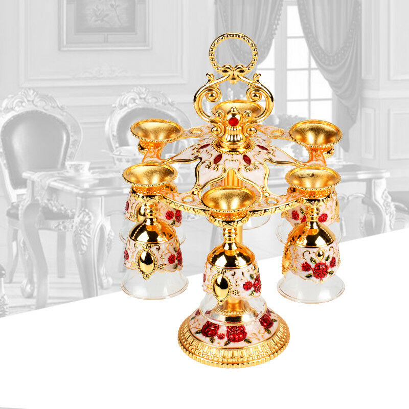 Gilt Crystal Relief Royal Retro Storage Pink gold Alloy Cup Holder Wine Gift Kit
