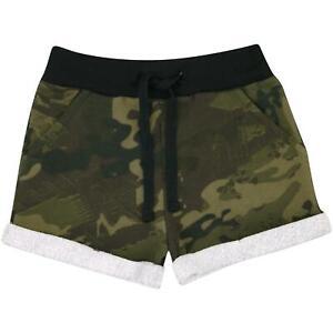 Kids Girls Shorts Fleece Camouflage Green Summer Hot Short Dance Gym Pants 5-13Y