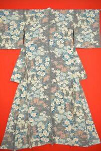 Vintage-Japanese-Silk-Antique-BORO-KIMONO-Kusakizome-KOMON-Dyed-Textile-XK98-630