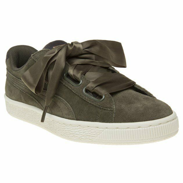 Womens Puma Green Khaki Suede Heart Vr Sneakers Court Lace Up