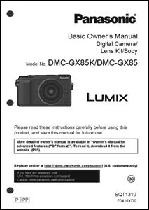 panasonic lumix dmc gx85 basic camera user guide instruction manual rh ebay com panasonic user guide download panasonic user guides