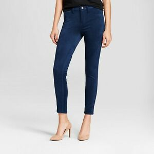 Mossimo-Denim-Women-039-s-High-Rise-Super-Stretch-Faux-Suede-Skinny-Jeans-18-Teal