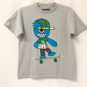 Boy-039-s-TONY-HAWK-T-shirt-MEDIUM-M-10-12-Tee-Black-Blue-Gray