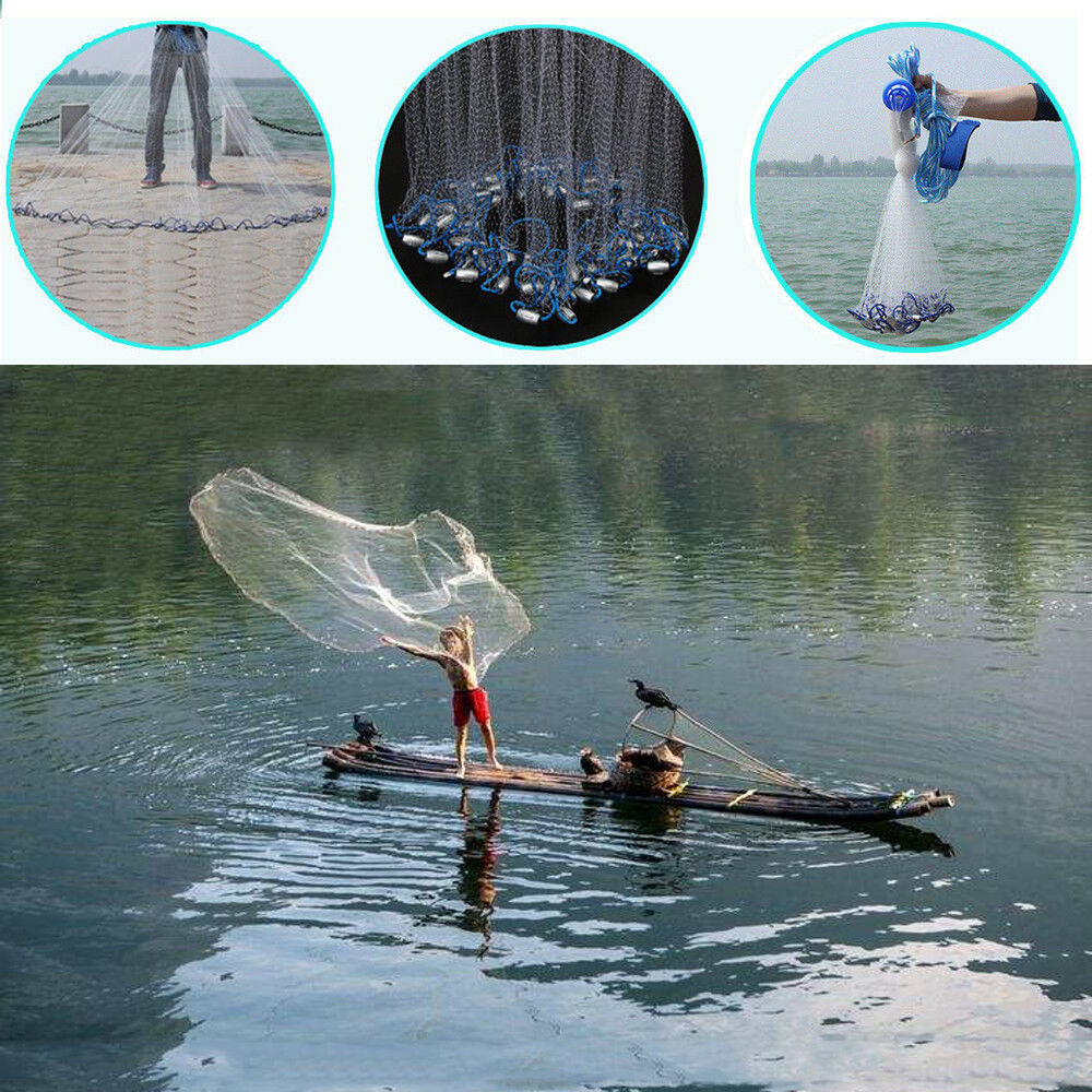 5.4m Hand Cast Throw Fishing Net Spin Bait Sinker Small Mesh Equipment Diameter