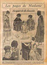 Robe Enfant Crêpe chinois Ruban Toque Loutre Chapeau Fashion Croquis WWI 1916