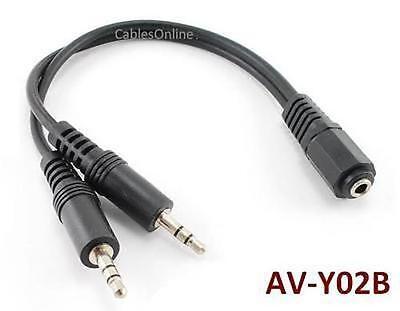 """6"""" 3.5mm Stereo 1 Female to 2 Male Y Splitter, AV-Y02B"""