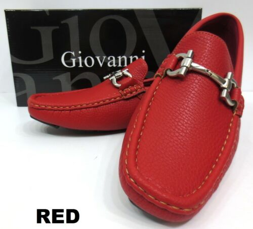 Men/'s GIOVANNI faux leather slip on shoes black white red brown navy style 9511