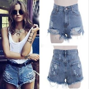 damen high waist loch wasser waschen shorts jeans hot pants denim kurze hose top ebay. Black Bedroom Furniture Sets. Home Design Ideas