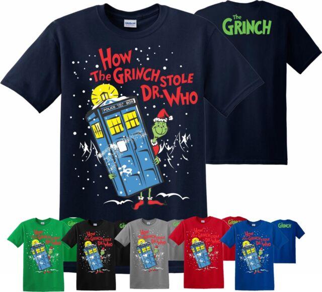 Il Grinch Rubò Dr Who Divertente T-Shirt Regalo di Natale 2018 Adulto Unisex Bambini Top