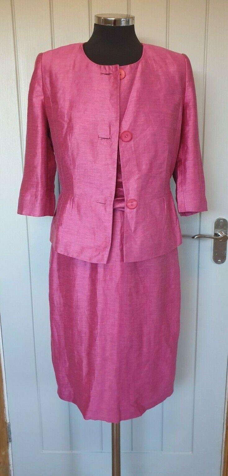 Kaliko pink mother of the bride dress suit size 8 jacket dress linen rich