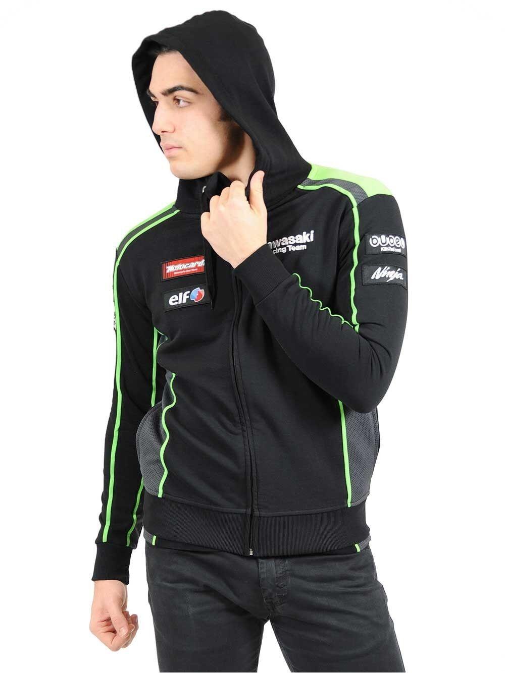 Mettre la réduction jusqu'au bout 2016 Officiel Kawasaki Motocard Équipe Éclair Noir/Vert Sweat Capuche Fermeture Éclair Équipe 031326