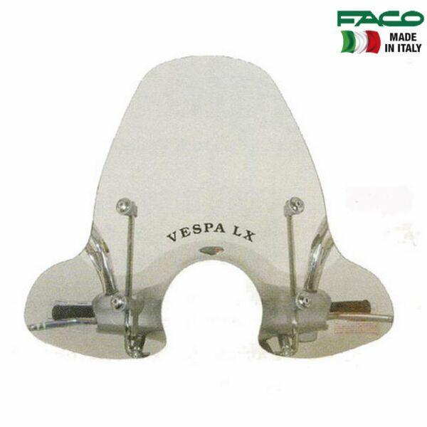 22481 Schermo Parabrezza Faco + Kit Attacchi Cromati Per Vespa Lx 150 2005 2006