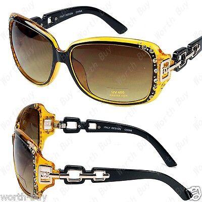 New DG Eyewear Womens Rhinestones Sunglasses Shade Yellow Designer Fashion Retro