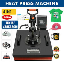 5 In 1 Heat Press Combo Machine 15x15 Transfer Sublimation Kit For T Shirts