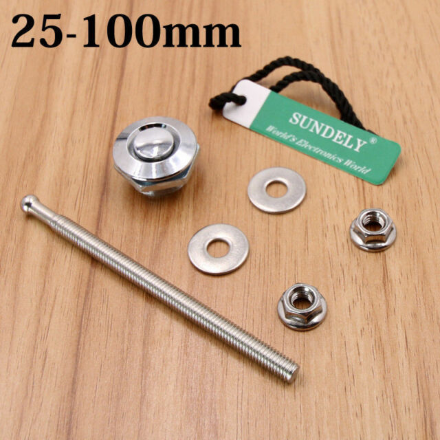 UK 25mm x 100mm Black Anodised Rapid Quick Release Push Clip Bonnet//Panel Latch