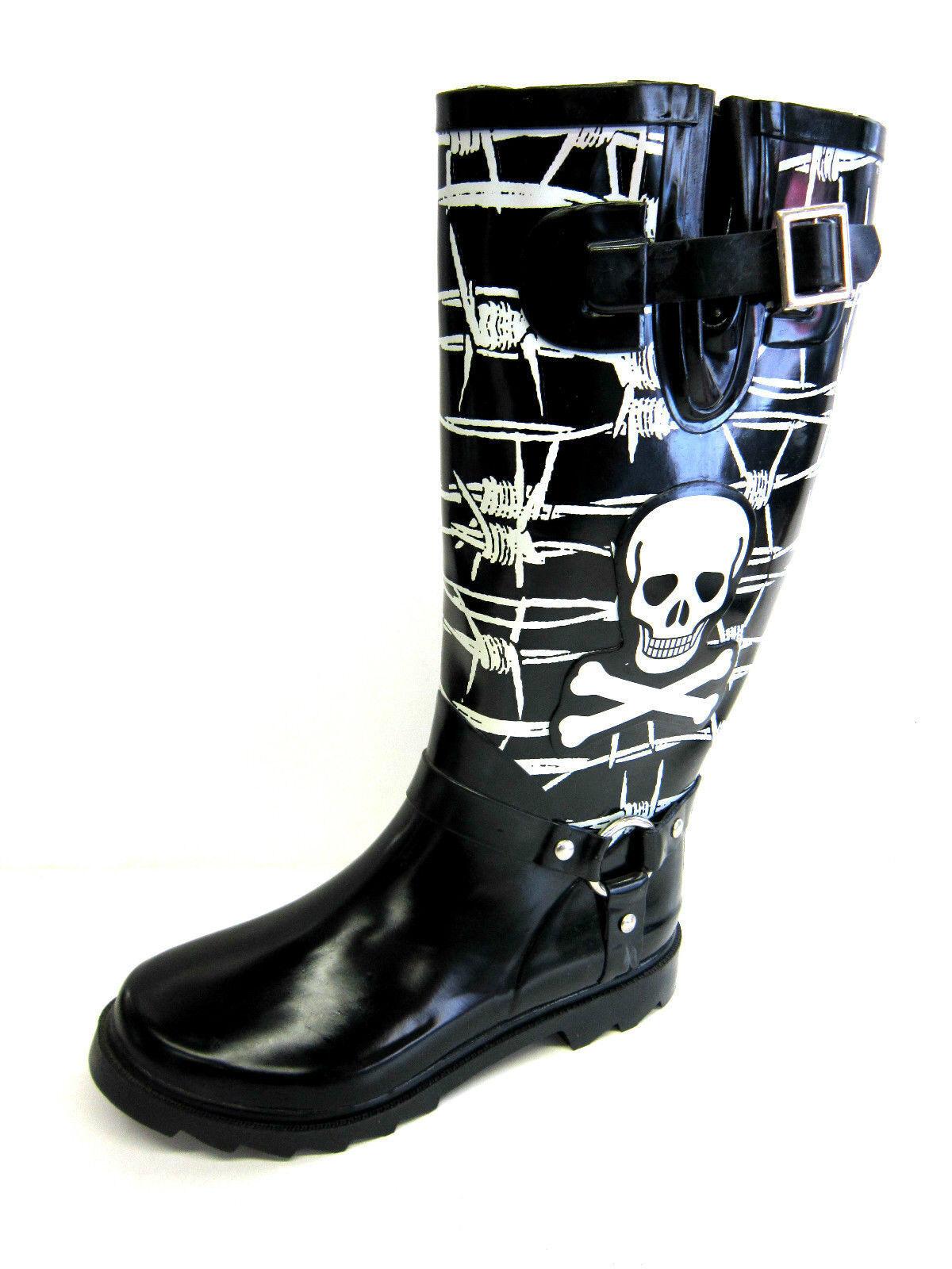 X1107- Ladies Black & White Rubber Wellingtons- Skull Design- Great Price!