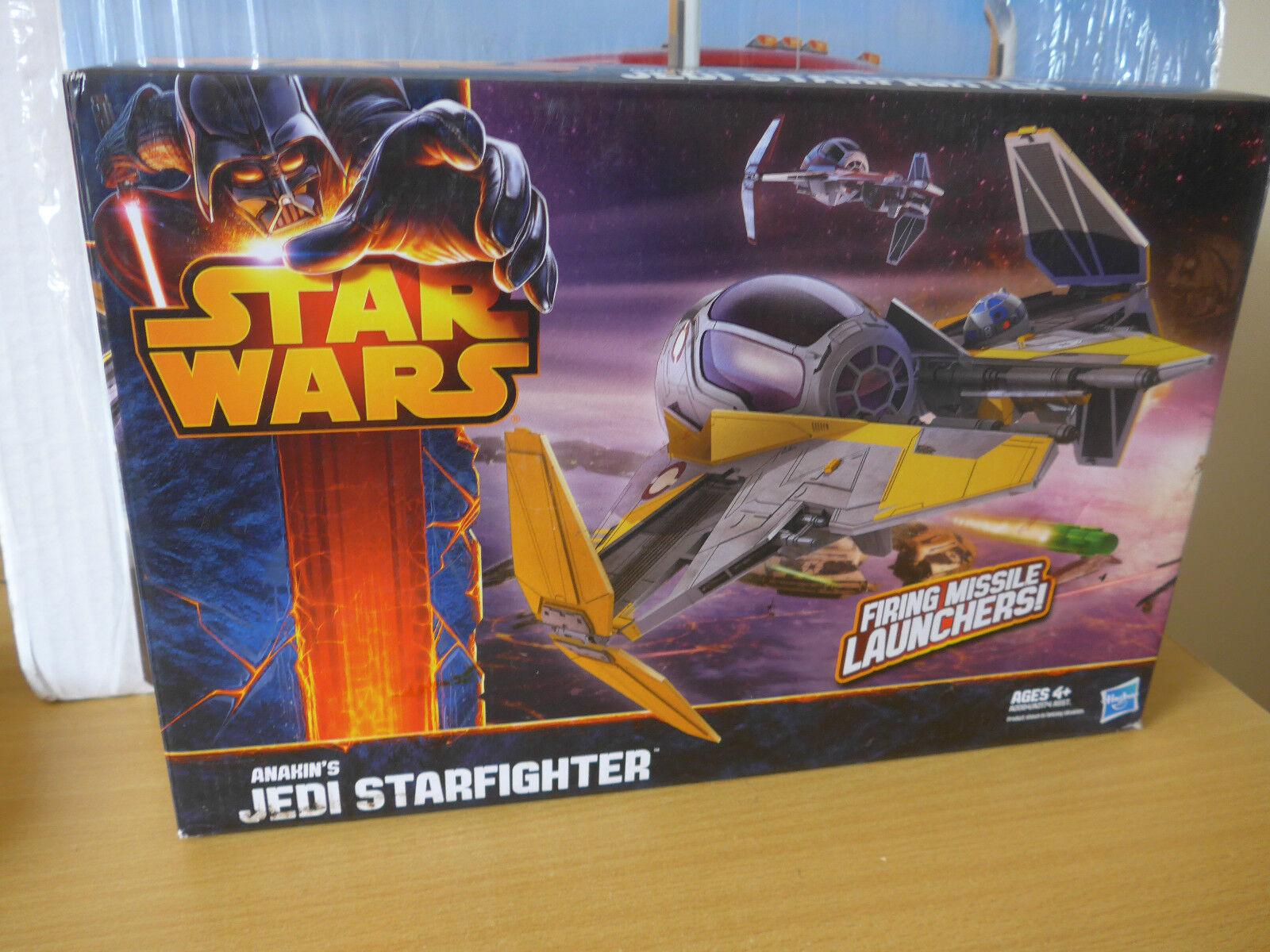 Star Wars Anakin,s Jedi Starfighter firing missile launchers action model yrs 4+