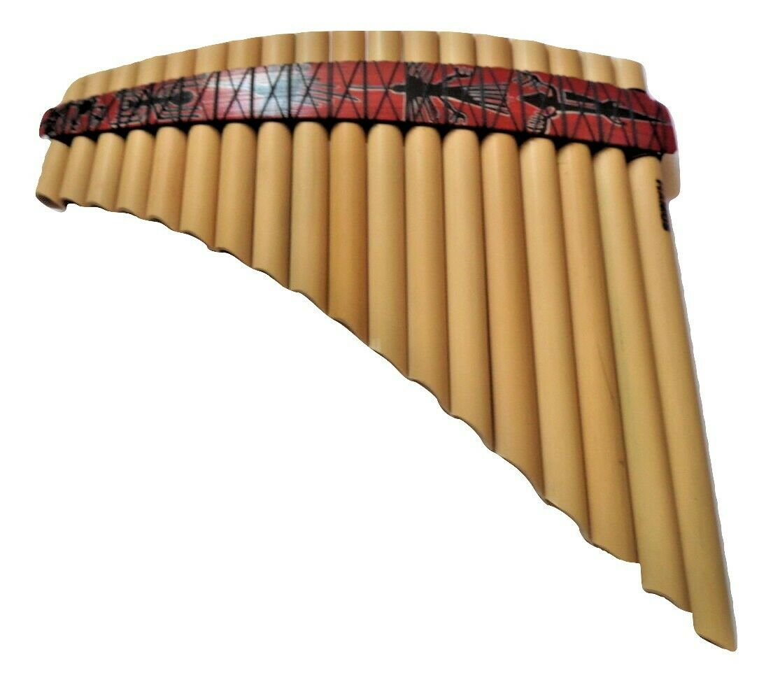LEFT HANDED PANFLUTE 18 PIPES - FROM PERU-CASE INCLUDED