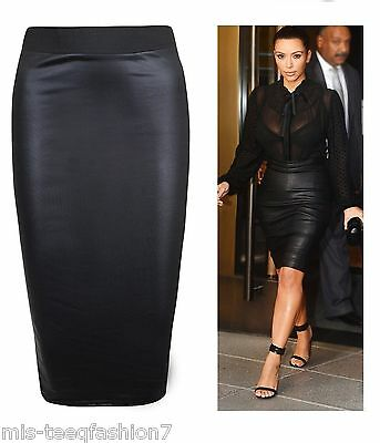 WOMENS WET LOOK BODYCON HIGH WAISTED MIDI FAUX LEATHER PENCIL SKIRT UK SIZE 8-26