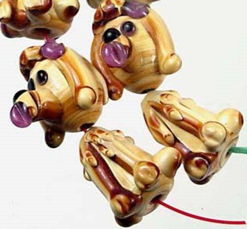 4 sets Lampwork Handmade Poodle Focal Pendant Beads