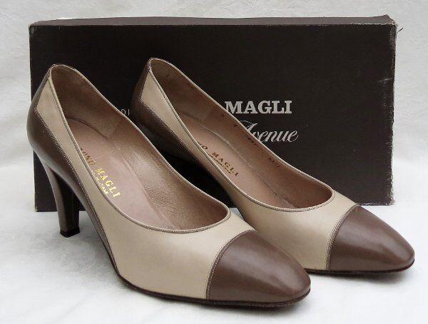 Vtg BRUNO MAGLI  Taupe Beige Leather High Heels Pumps shoes size US 8